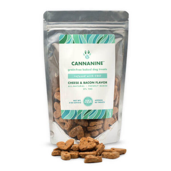 Cannanine™ Cheese & Bacon Flavor All-Natural Baked Dog Treats With CBD 160 mg. 8 oz.