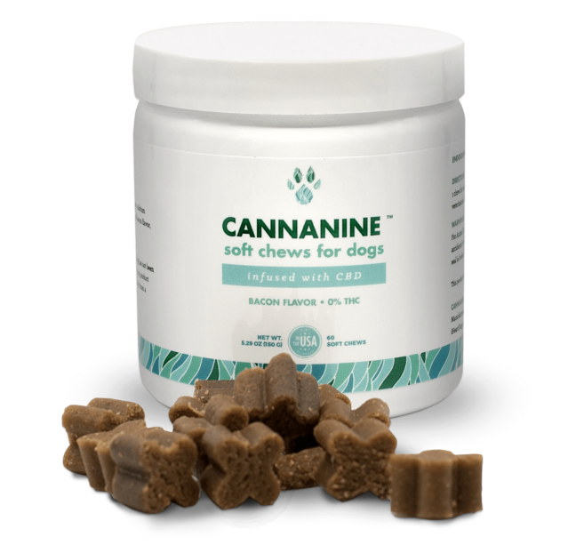 Bacon Flavored CBD Soft Chews For Dogs 300 mg. 60 ct.