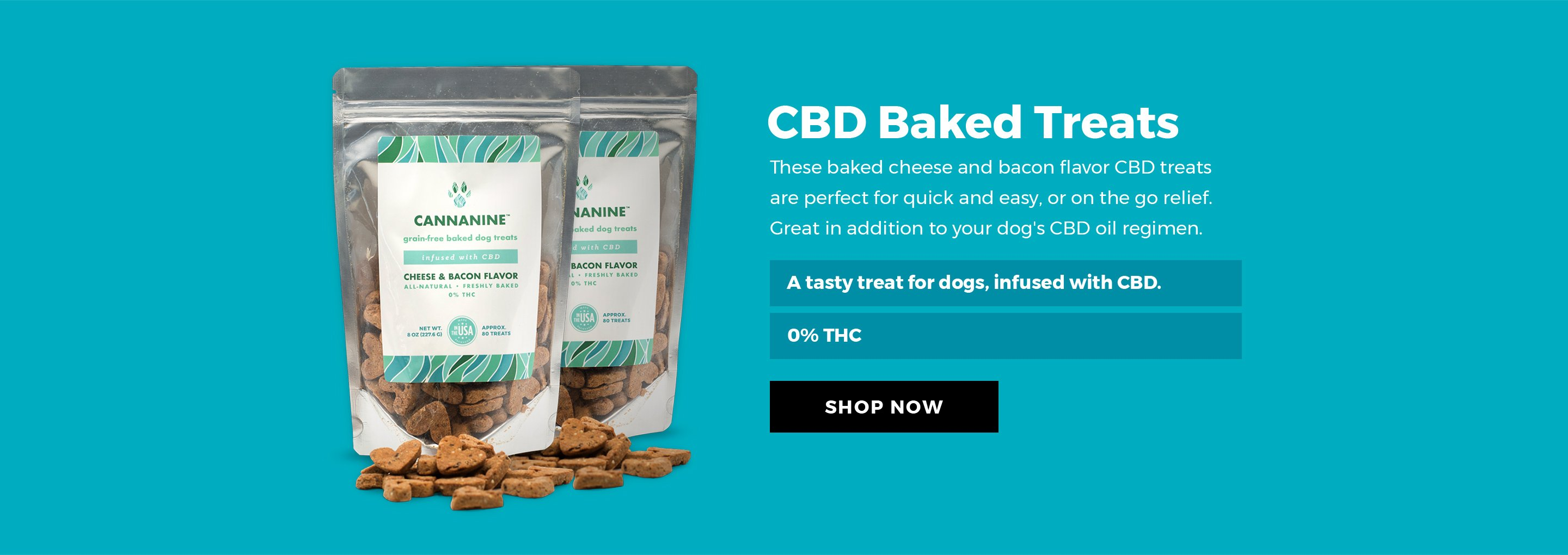 CBD Baked Treats - These based cheese and bacon flavor CBD treats are perfect for quick and easy, or on the go relief. Great in addition to your dog's CBD oil regimen.