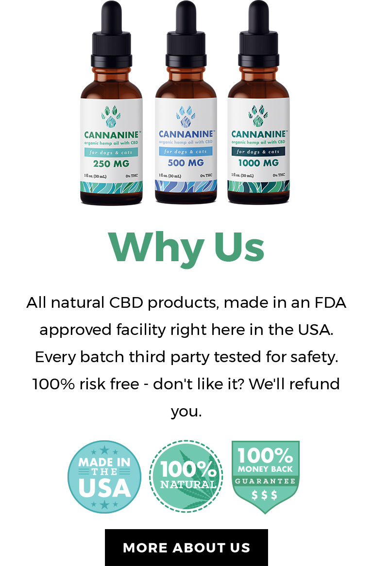 Why Us - All natural CBD products, made in an FDA approved facility right here in the USA. Every batch is third party tested for safety. 100% risk free - don't life it? We'll refund you.