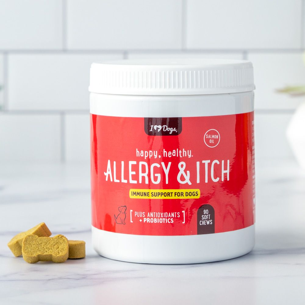 Happy, Healthy™ Allergy & Itch Relief for Dogs with Salmon Oil, Quercetin, Colostrum, Antioxidants and Probiotics- 90 Count