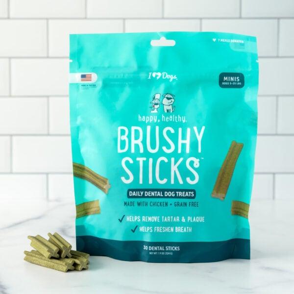 Happy, Healthy™ Brushy Sticks Dental Dog Treats - Dental Chews for Dogs - 30 Sticks