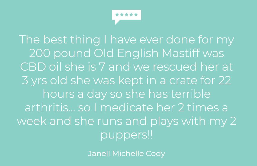 Customer testimonial for hemp Oil for dogs with arthritis